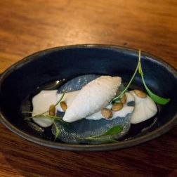 House Cold Smoked Spanish Mackerel with Pine Nut Gazpacho Sorbet
