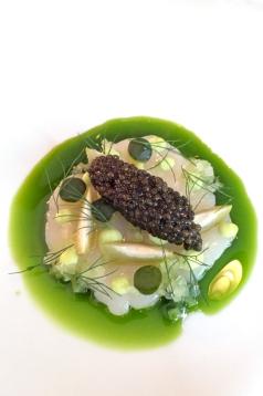 Scallop, Rossini's Gold Selection Caviar, Green Peaches & Dill