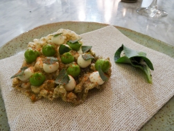Crispy Cod Skin and the Oyster Leaf with Turbot Roe
