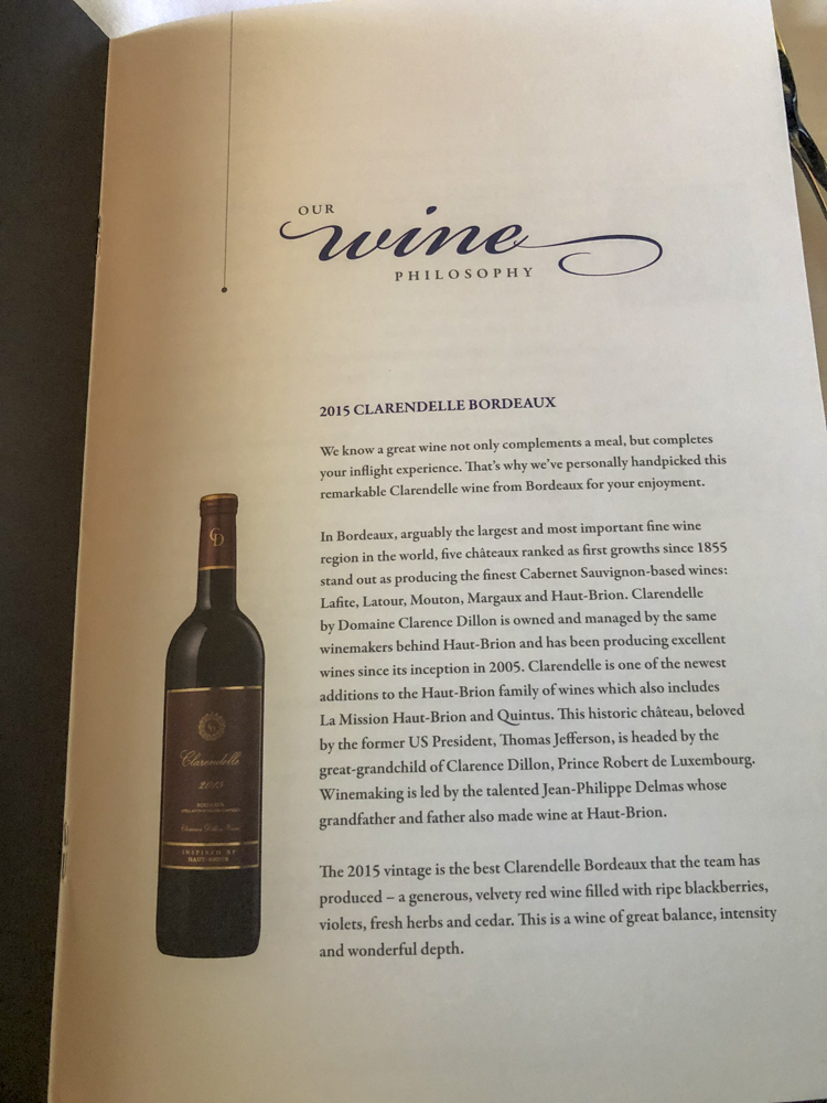 Singapore Air Buiness Wine Philosophy