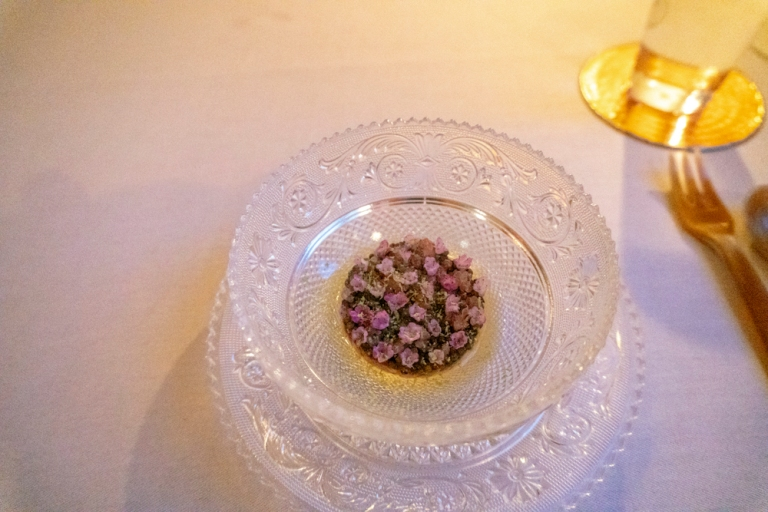 Crudo: Zen Prestige Caviar, Red Deer, Argan Oil, Shiso